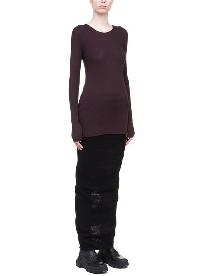 RICK OWENS RIBBED ROUND NECK SWEATER IN PURPLE