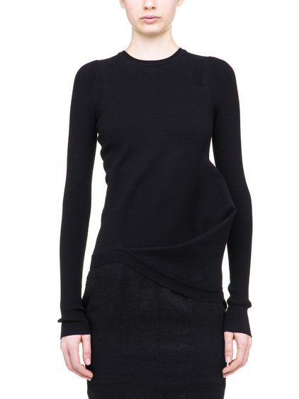 RICK OWENS LONG SLEEVE RIPPLE TOP IN BLACK