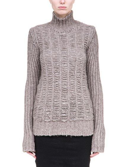 RICK OWENS CHUNKY TURTLE SWEATER IN PEARL BEIGE