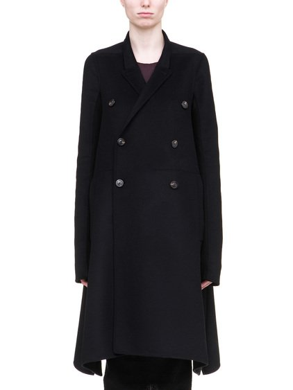 RICK OWENS JMF FAUN COAT IN BLACK DOUBLE WOOL