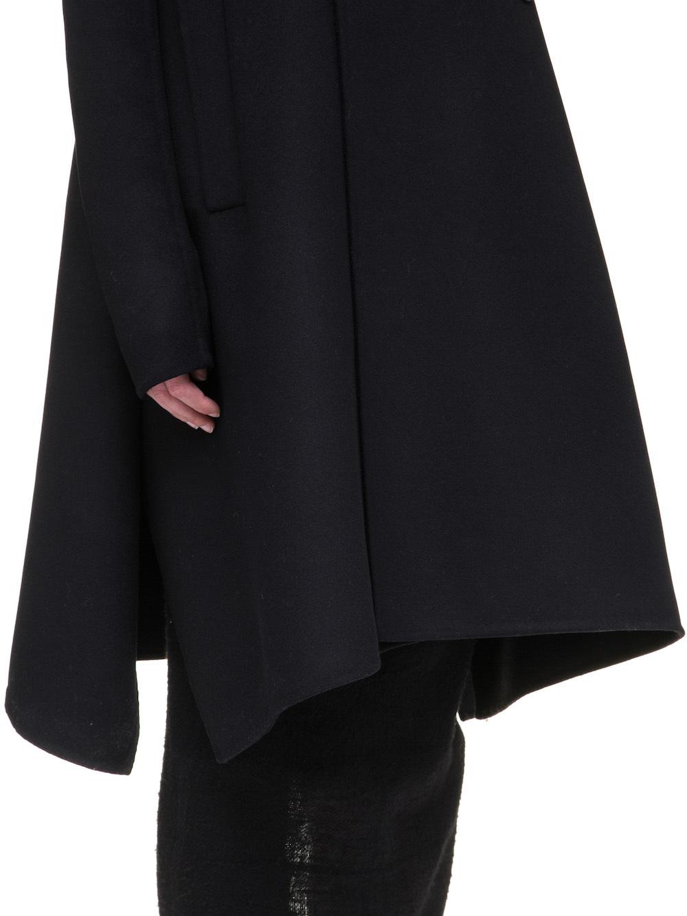 RICK OWENS JMF FAUN COAT IN BLACK DOUBLE WOOL