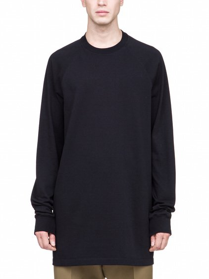RICK OWENS BASEBALL TEE IN BLACK HEAVYWEIGHT COTTON JERSEY