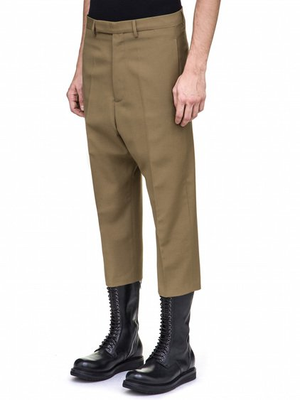 RICK OWENS CROPPED ASTAIRES TROUSERS IN BEAN GREEN