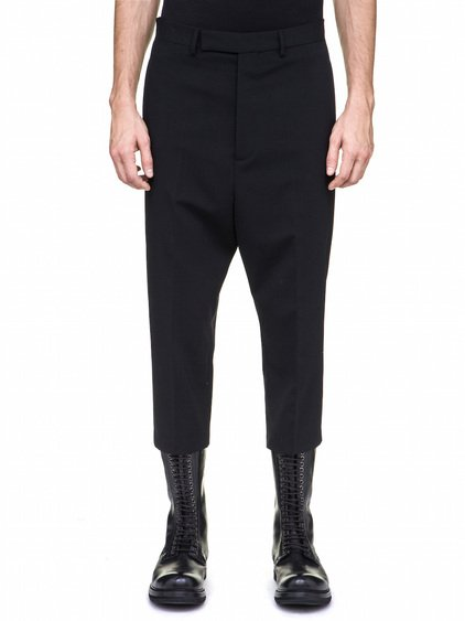 RICK OWENS CROPPED ASTAIRES TROUSERS IN BLACK