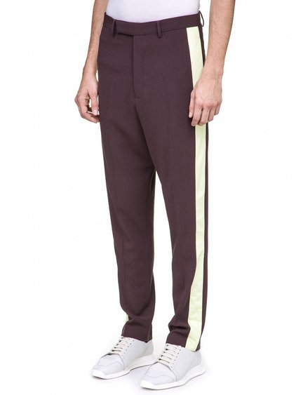 RICK OWENS TUX ASTAIRES TROUSERS IN PURPLE LATERAL YELLOW NYLON STRIPE ON BOTH SIDES.