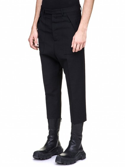 RICK OWENS CROPPED CARGO TROUSERS IN BLACK WOOL