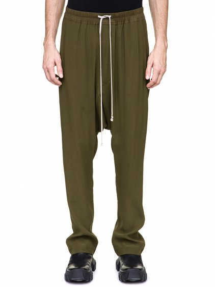 RICK OWENS DRAWSTRING LONG PANTS IN DIRTY GREEN