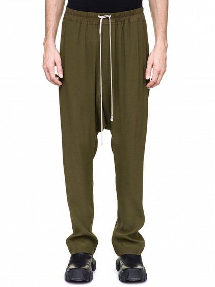 RICK OWENS DRAWSTRING LONG PANTS IN DIRTY GREEN
