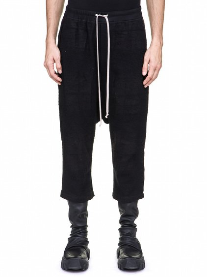 RICK OWENS DRAWSTRING CROPPED PANTS IN BLACK CAMEL PLAID