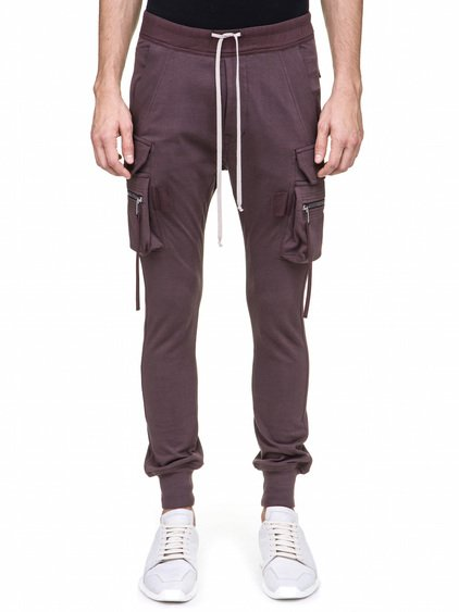 RICK OWENS CARGO JOG PANTS IN PURPLE HEAVY COTTON