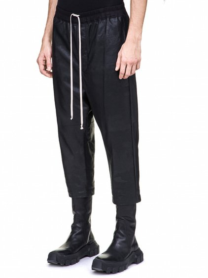 RICK OWENS DRAWSTRING ASTAIRES CROPPED TROUSERS IN BLACK BLISTER GLOSSY LAMB