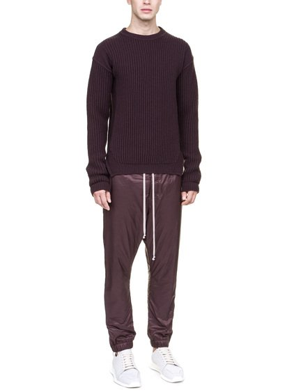 RICK OWENS FISHERMAN ROUND NECK SWEATER IN PURPLE