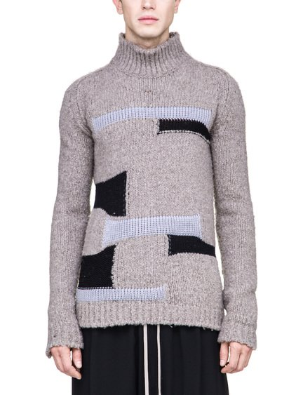 RICK OWENS PATCHWORK TURTLE SWEATER IN BEIGE
