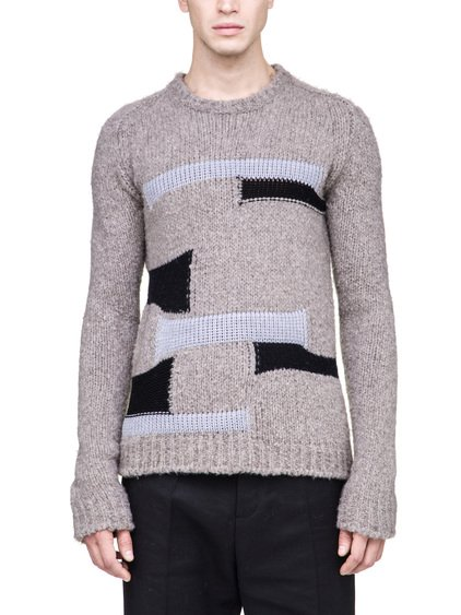 RICK OWENS PATCHWORK BIKER SWEATER IN BEIGE