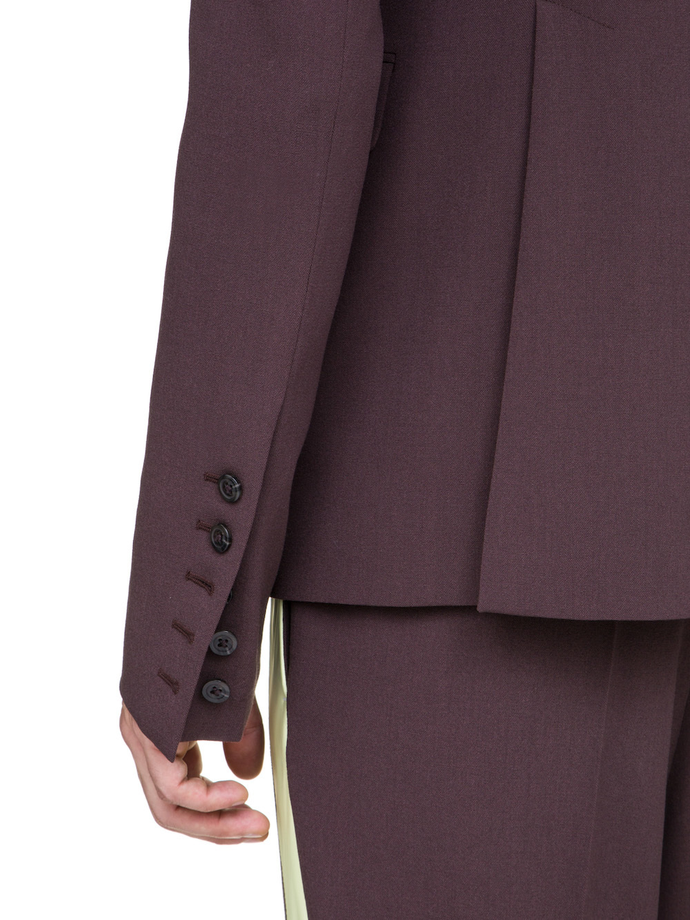 RICK OWENS 73CM BLAZER IN RAISIN PURPLE A YELLOW NYLON LAPEL COLLAR