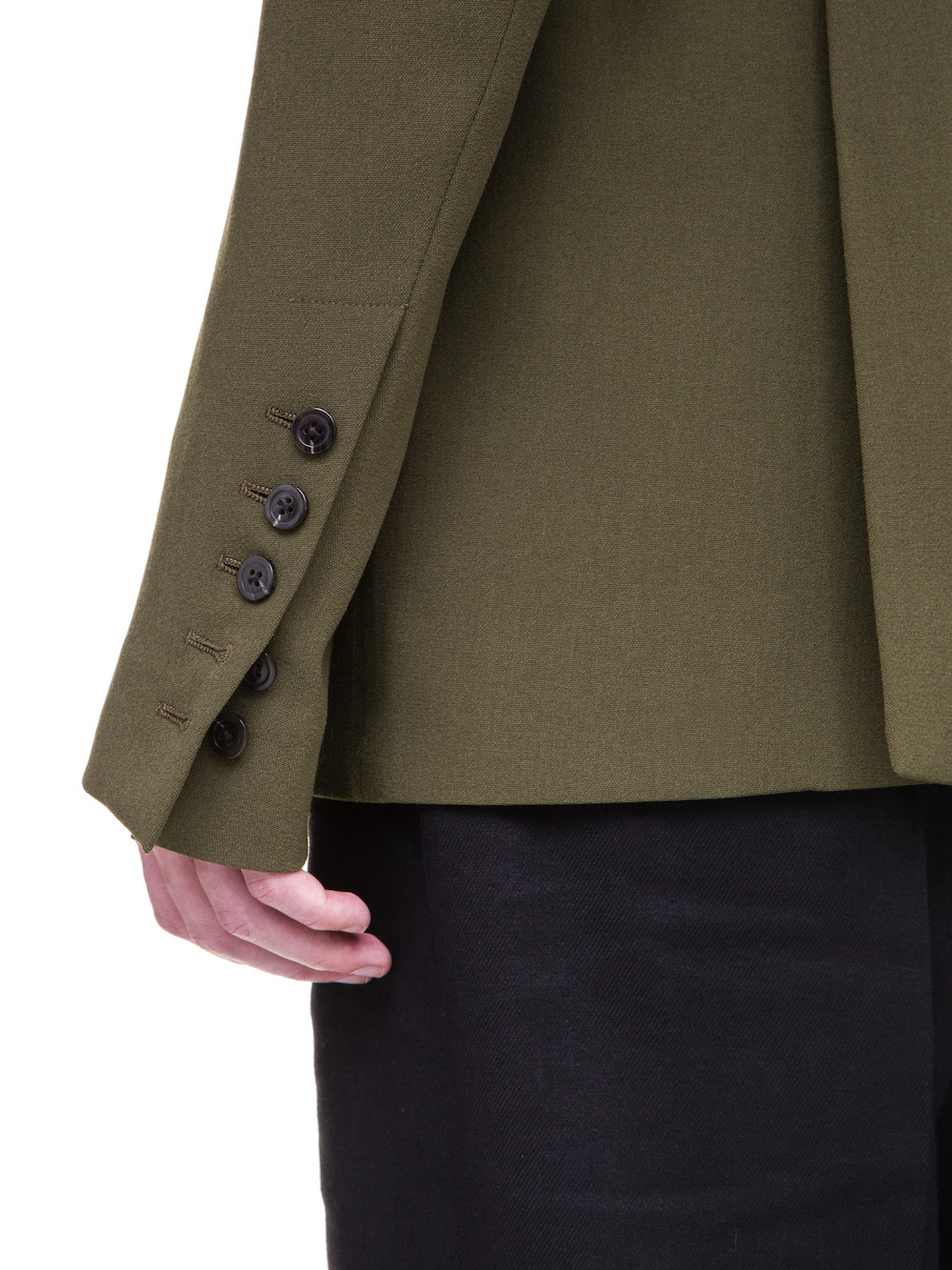 RICK OWENS SOFT BLAZER IN DIRTY GREEN