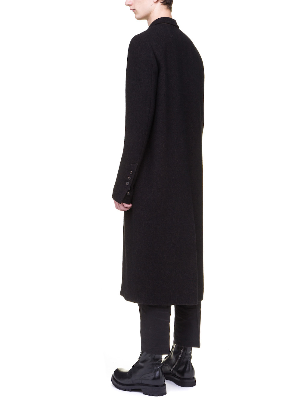 RICK OWENS MOREAU COAT IN BROWN BLACK