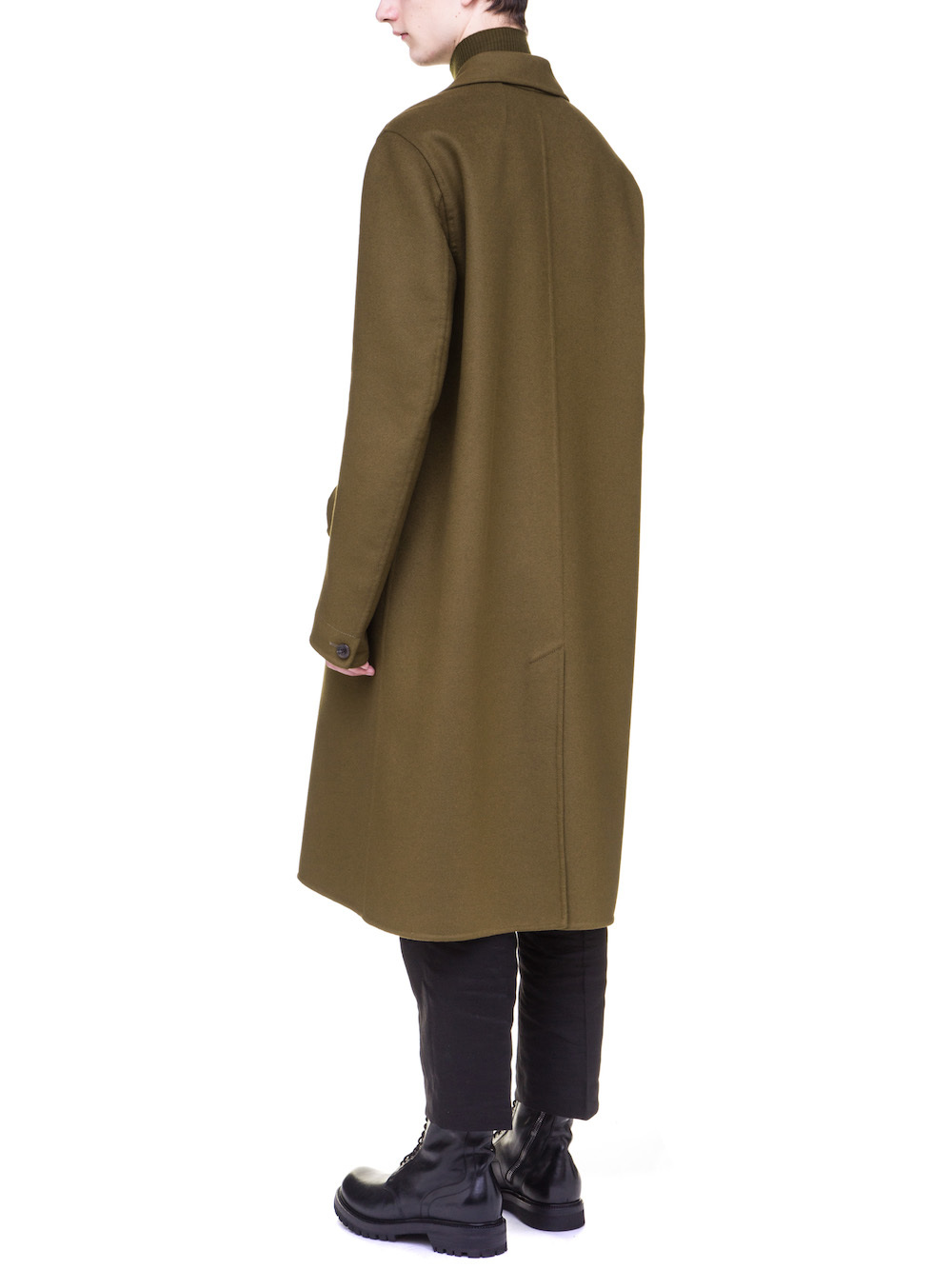 RICK OWENS OFFICER COAT IN DIRTY GREEN