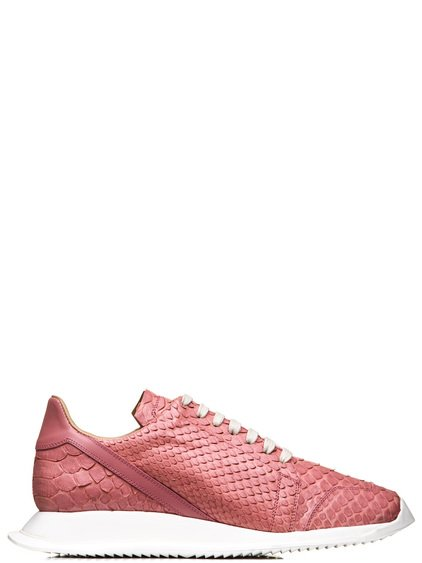 RICK OWENS OBLIQUE LACE-UP RUNNERS IN PINK PYTHON LEATHER