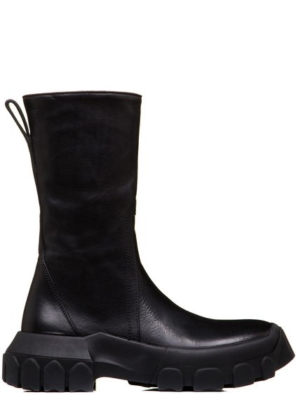 RICK OWENS TRACTOR ZIPPED BOOTS IN BLACK COW LEATHER