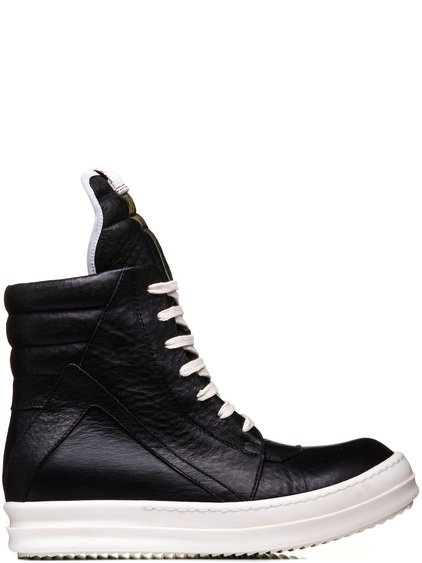 RICK OWENS GEOBASKETS IN BLACK COW LEATHER