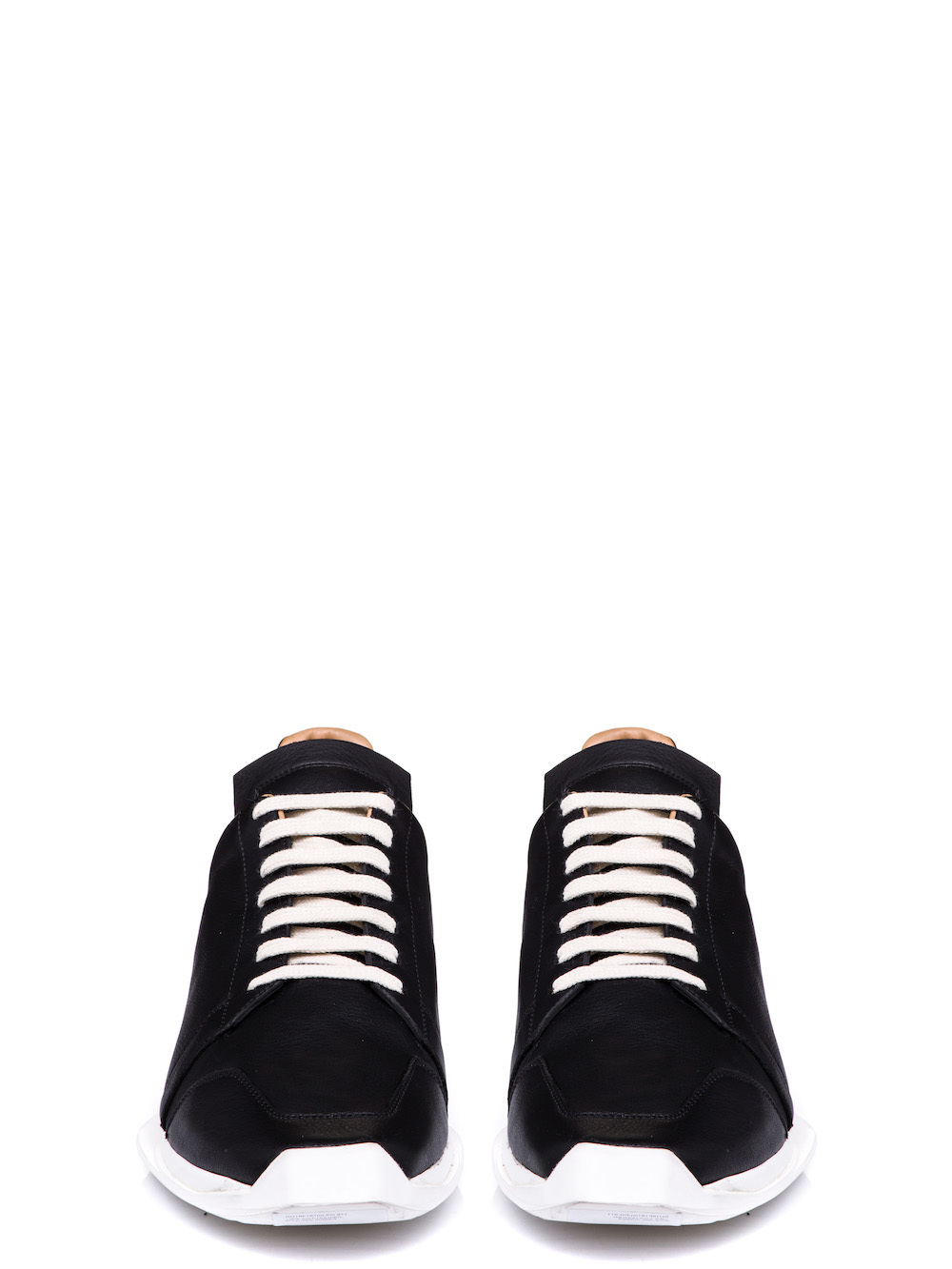 RICK OWENS OBLIQUE LACE-UP RUNNERS IN BLACK CALF LEATHER