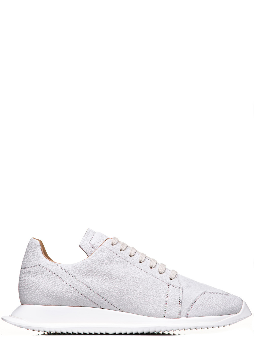 RICK OWENS OBLIQUE LACE-UP RUNNERS IN WHITE GOAT LEATHER