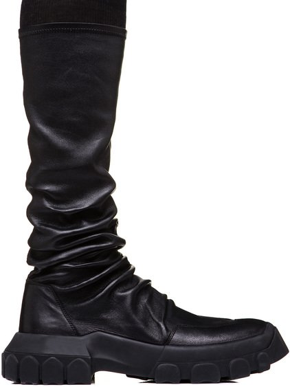 RICK OWENS TRACTOR SOCK SNEAKERS IN BLACK STRETCH LAMB LEATHER