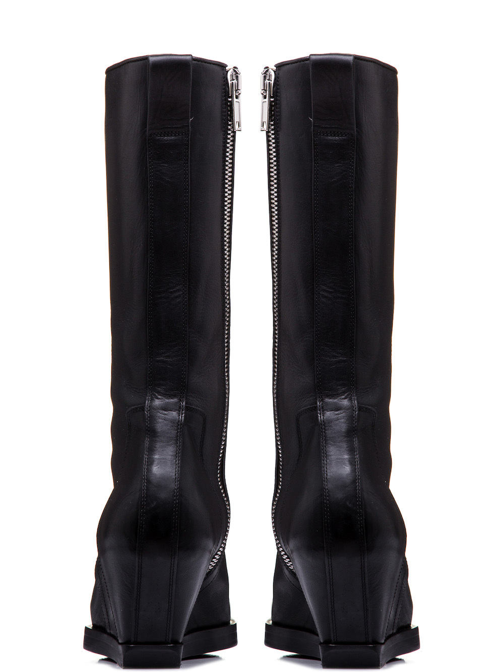RICK OWENS SQUARE TOE BOOTS IN BLACK COW LEATHER