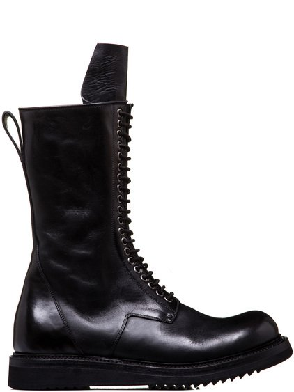 RICK OWENS LACE-UP CREEPER BOOTS WITH CREEPER SOLE IN BLACK CULATTA HORSE LEATHER