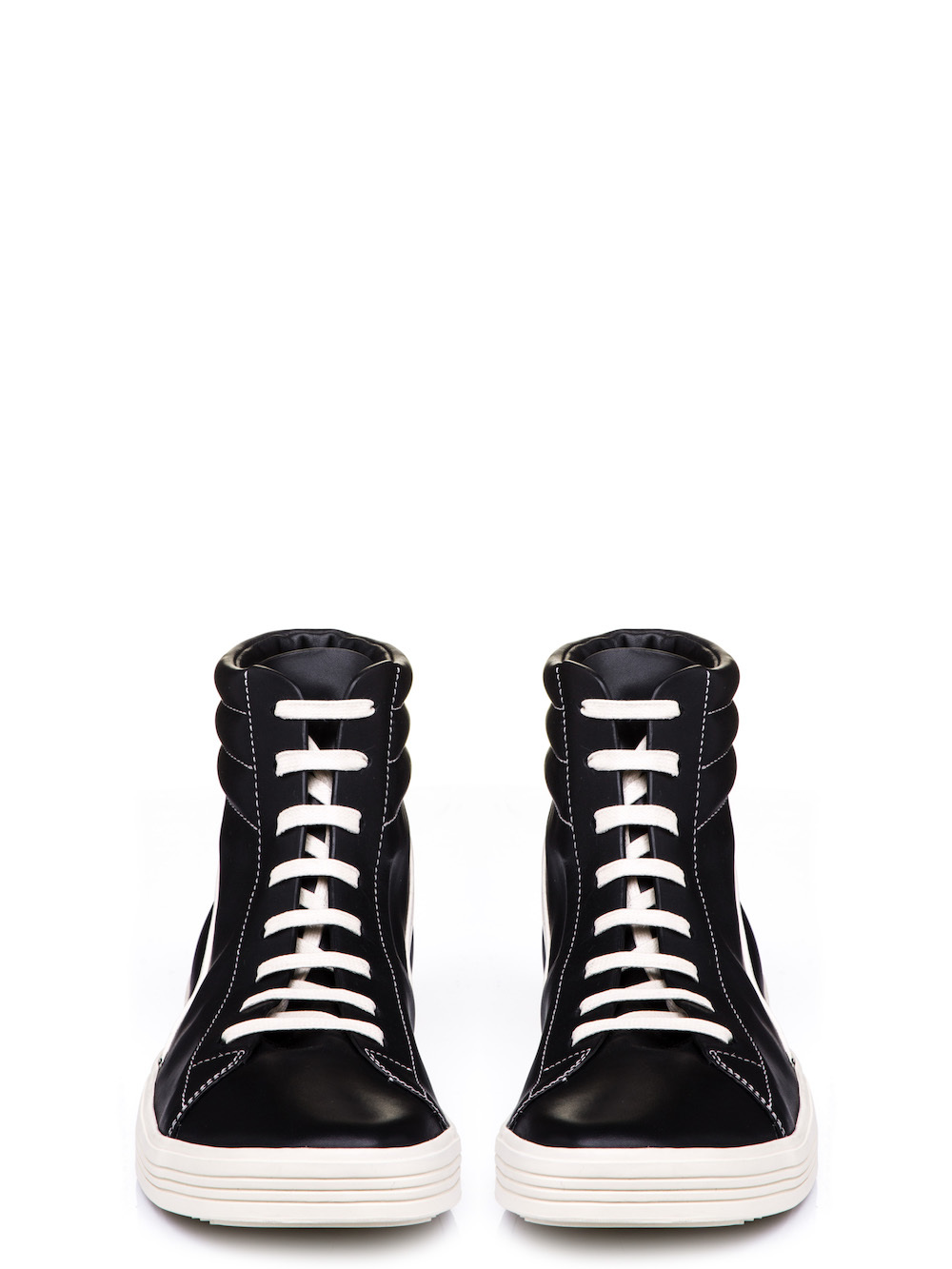 RICK OWENS GEOTHRASHER HIGH SNEAKERS IN BLACK BOSTON CALF LEATHER