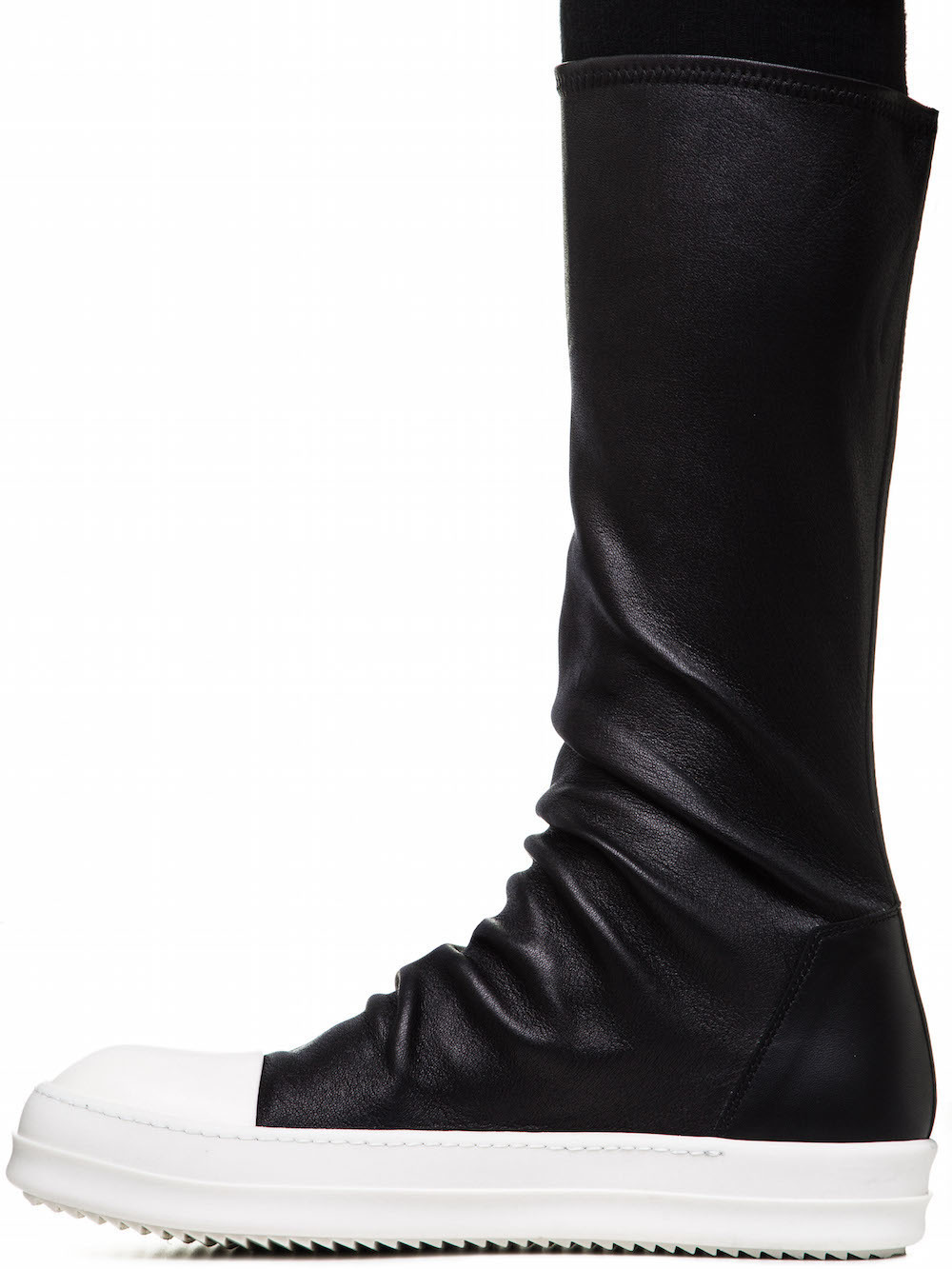 RICK OWENS SOCK SNEAKERS IN BLACK STRETCH LAMB LEATHER