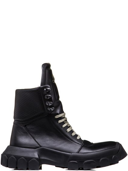 RICK OWENS HIKING SNEAKERS IN BLACK CALF LEATHER