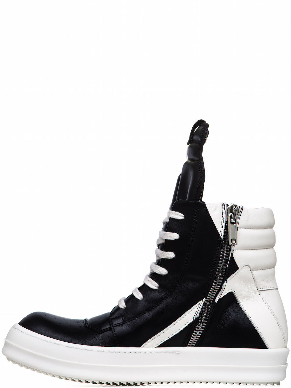 RICK OWENS GEOBASKETS IN BLACK CALF LEATHER