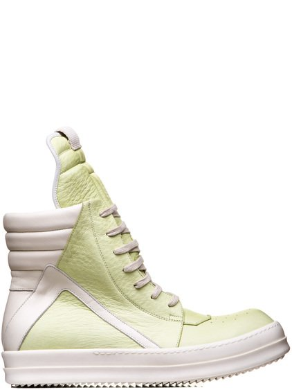 RICK OWENS  GEOBASKETS IN LIME LIGHT YELLOW COW LEATHER