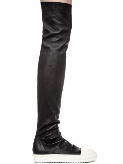 RICK OWENS STOCKING SNEAKERS IN BLACK STRETCH LAMB LEATHER