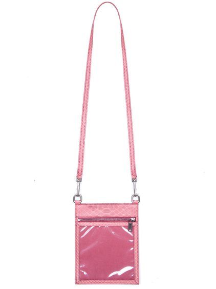 RICK OWENS SECURITY POUCH IN PINK PYTHON LEATHER