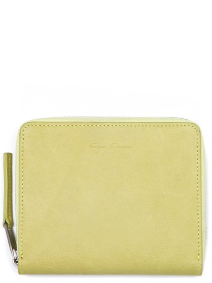 RICK OWENS SMALL ZIPPED WALLET IN  YELLOW CALF LEATHER