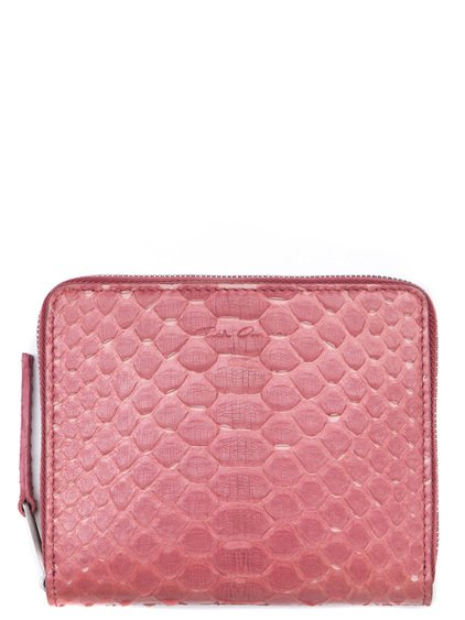 RICK OWENS SMALL ZIPPED WALLET IN PINK PYTHON LEATHER