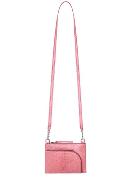 RICK OWENS CLUB POUCH IN PINK PYTHON LEATHER