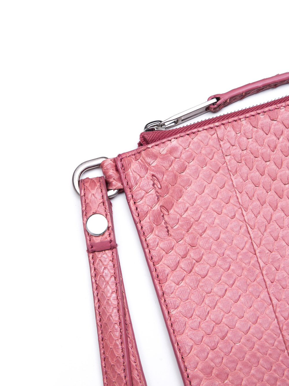 RICK OWENS LARGE ZIPPED POUCH IN PINK PYTHON LEATHER