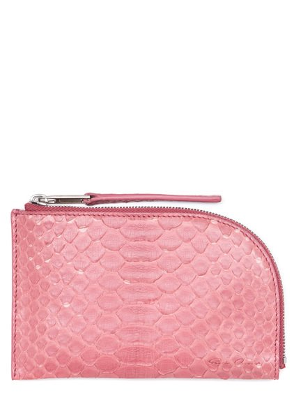 RICK OWENS SMALL ZIPPED POUCH IN PINK PYTHON LEATHER