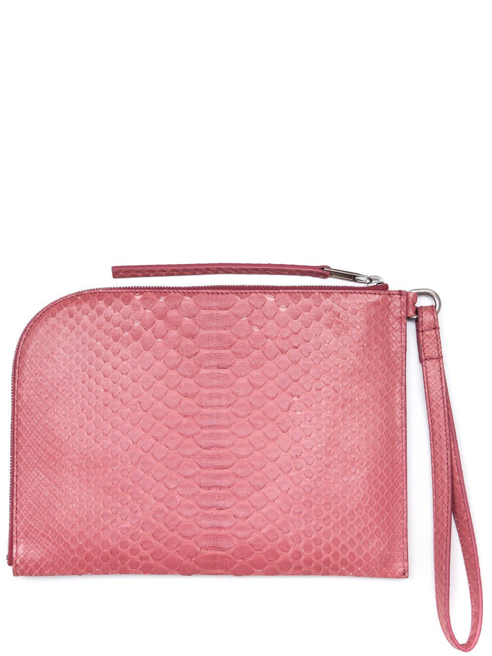 RICK OWENS MEDIUM ZIPPED POUCH IN PINK PYTHON LEATHER