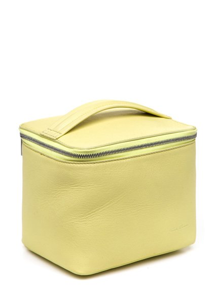 RICK OWENS  SMALL TOILETRY BEAUTY CASE IN YELLOW GOAT LEATHER