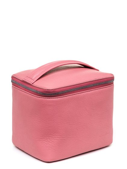 RICK OWENS SMALL TOILETRY BEAUTY CASE IN PINK GOAT LEATHER