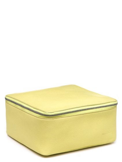 RICK OWENS BIG TOILETRY BEAUTY CASE IN LIME LIGHT YELLOW GOAT LEATHER