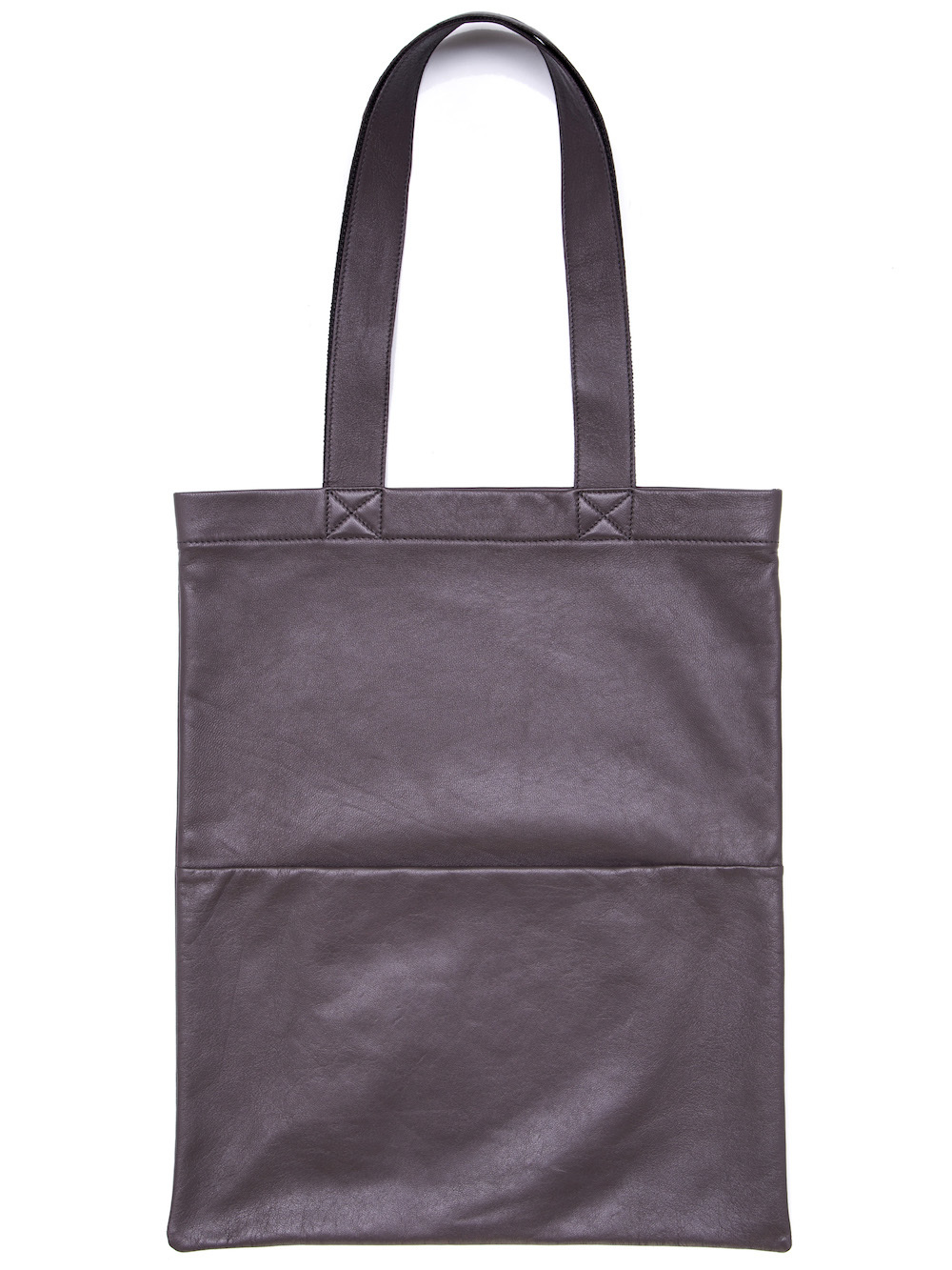 RICK OWENS SMALL SIGNATURE TOTE BAG IN DARKDUST GREY LAMB LEATHER