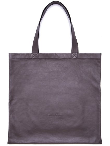 RICK OWENS SMALL SIGNATURE TOTE BAG IN  GREY LAMB LEATHER