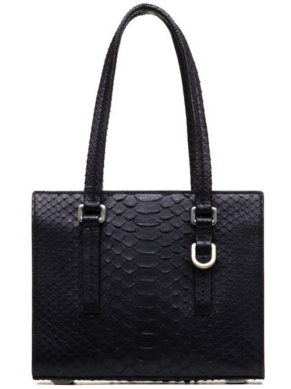 RICK OWENS MICRO EDITH BAG IN BLACK PYTHON LEATHER