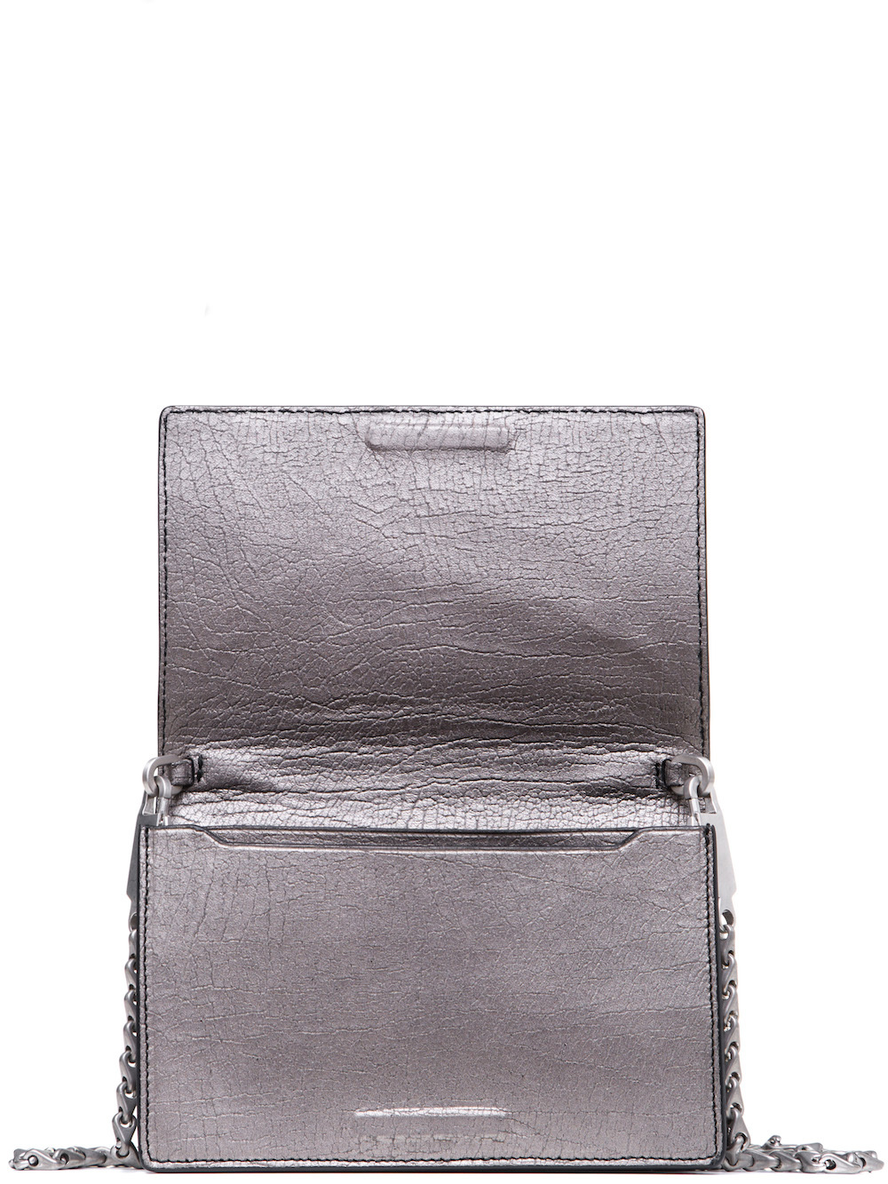 Rick Owens Lunch Bag In Silver Calf Leather Is Rectangular